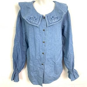 AT LAST Vintage Bell Sleeve Denim Top Blouse sz S